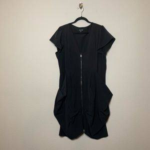 City Chic Black Pleated Zip Front Tunic Dress